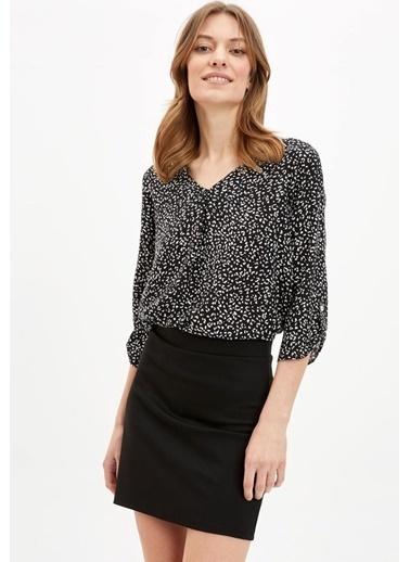 DeFacto V Yaka Uzun Kollu Bluz Siyah